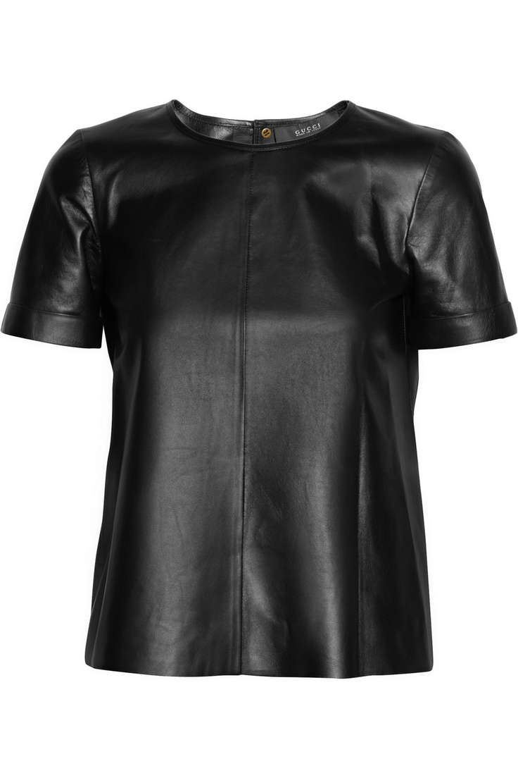 gucci, leather T-shirt