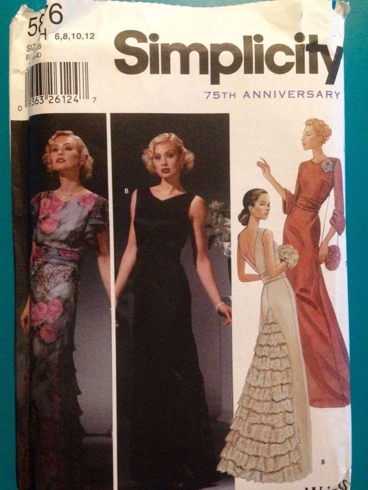 Simplicity 5876 Evening Gown Dress Pattern Art Deco Glamour Costume 6 8 10 12 #Simplicity #ArtDeco