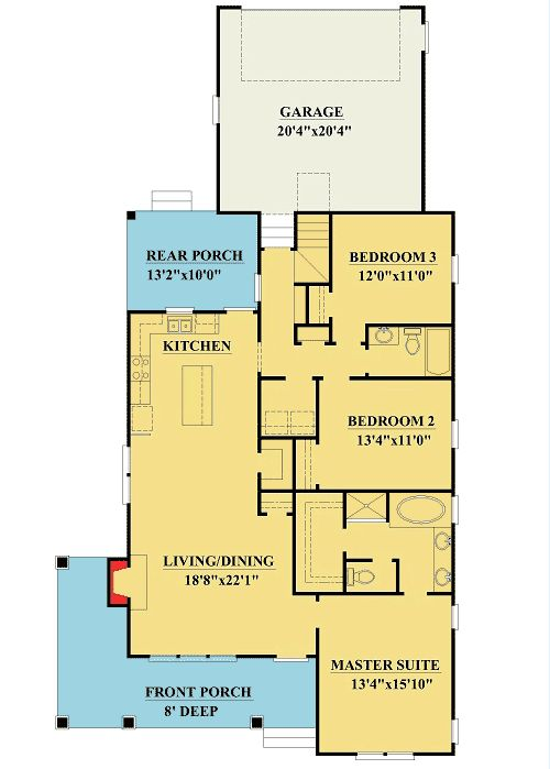 Plan 15068nc 3 bedroom cottage with bonus and alley for Small master bedroom plan