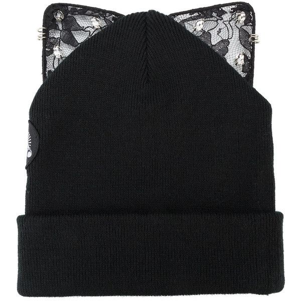 Silver Spoon Attire Bad Kitty Embellished Beanie (335 BRL) ❤ liked on Polyvore featuring accessories, hats, beanie hat, silver spoon attire, beanie caps, embellished hats and beanie cap hat