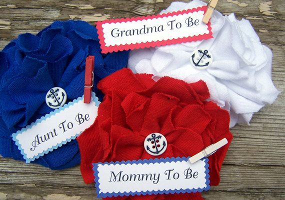 3 Personalized Nautical Baby Shower Corsage by BloomingParty, $26.00