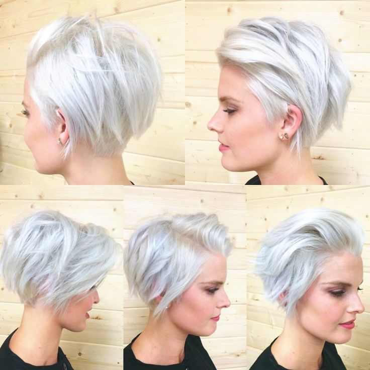 Going Gray short silver-gray blonde chopped off Bob