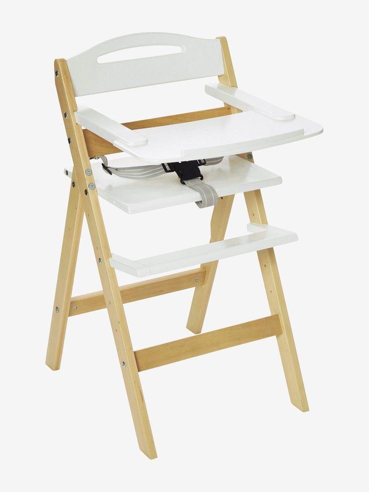 Chaise haute en bois VERTBAUDET MagicPouss naturel/blanc - Pratique et super esthétique, cette chaise en bois évolutive suit la croissance de l'enfant jusqu'à ce qu'il devienne grand !  DIMENSIONS : Haut. 85
