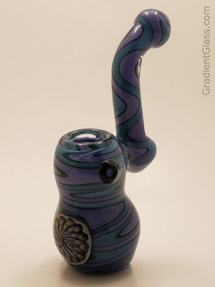 Purple Blue Glass Bubbler Honeycomb Bowl - GradientGlass - Glass Bubbler - 1