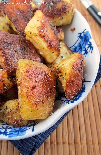 (GF) Crispy Roasted Mustard Potatoes~ Mustard, butter, olive oil, lemon, oregano and parmesan cheese, a wickedly delicious combination that forms a crispy coating. Crunchy on the outside, soft in the middle, and insanely flavorful!