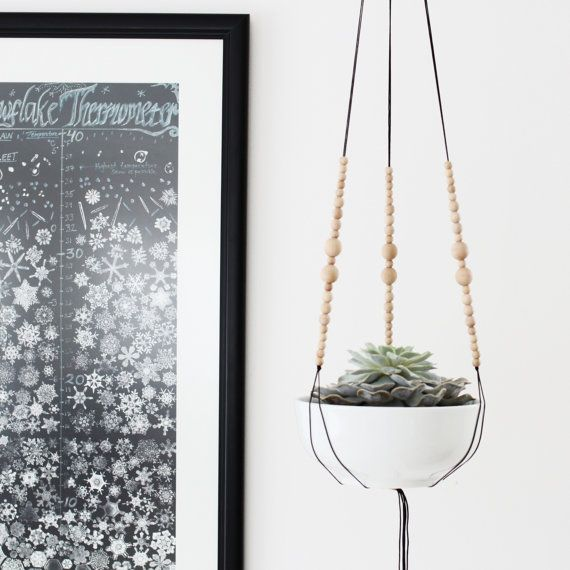 MORE COLORS // Medium Hanging Planter without Pot / Modern Macrame Planter / Natural Wood Bead Plant Hanger / Minimalist Home Decor