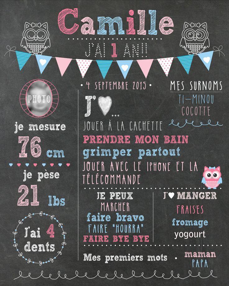 """Affiche personnalisée 1er anniversaire """"Rose et bleu"""" - 20$ #chalkboard #hiboux"""