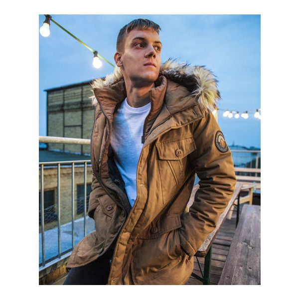 Superdry Everest Wax Jacket ($180) ❤ liked on Polyvore featuring men's fashion, men's clothing, men's outerwear, men's jackets, beige, mens beige jacket, mens zip jacket, superdry mens jackets, mens zipper jacket and mens hooded jackets