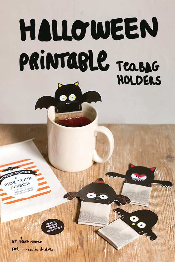 Enjoy a ghostly tea party this Halloween with these spooky printable tea bag holders!