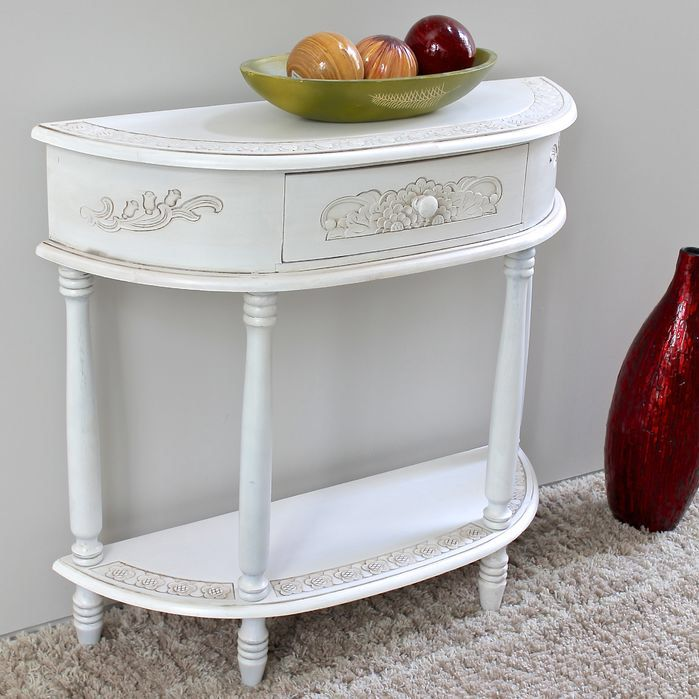 Lepore 2-Tier Antique White Wood Console Table