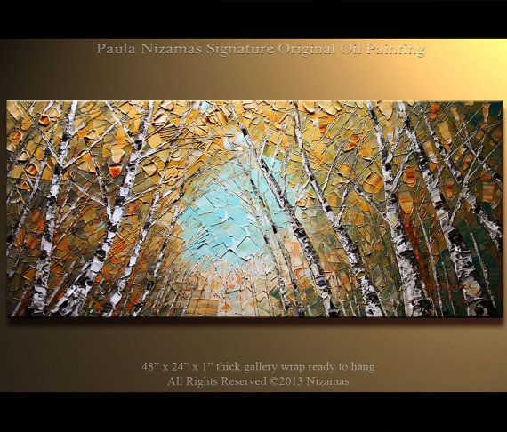 "48"" Painting Oil on Canvas Trees Birch Original Painting Silver Birch Forest Palette Knife Landscape  from Paula IIIIIIIIIIIIIIIIIII"