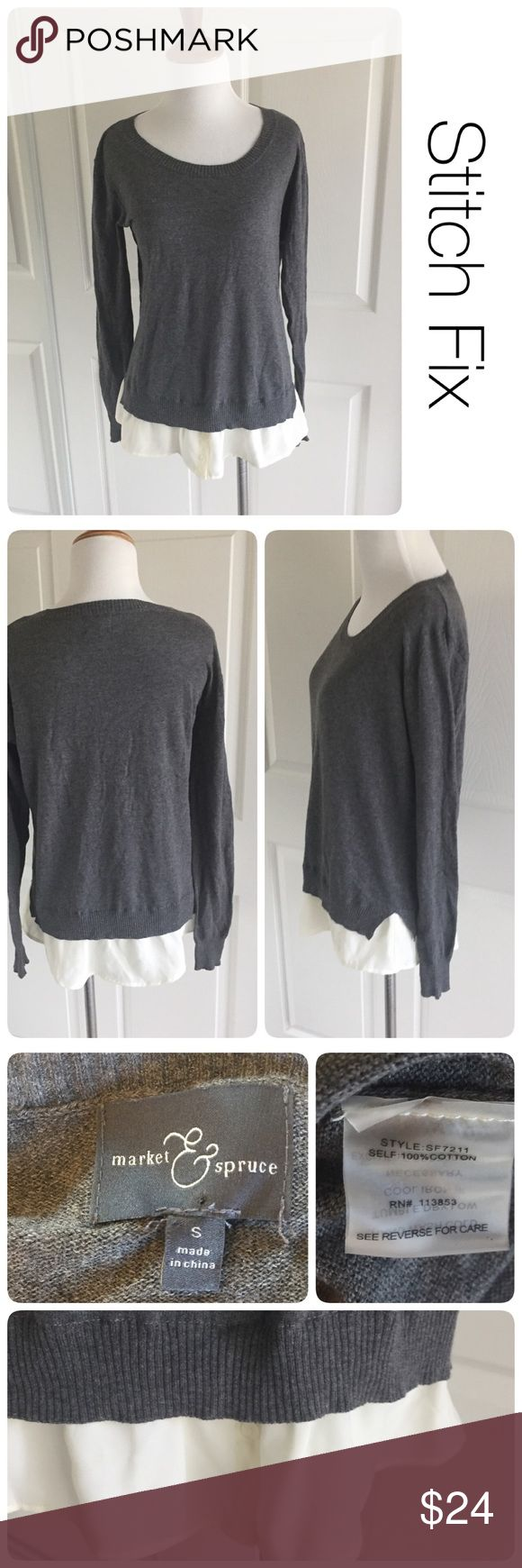 Stitch Fix Sweater w/ faux blouse by Market&Spruce ♦️Excellent condition. No holes, stains  and very minor piling.                                                 ♦️Materials- 100% cotton.      ♦️Measurements:                                  ♦️Laying flat armpit to armpit: approximately 18.5 inches                                               ♦️Laying flat from the back of the neck to the bottom of the front hem is approximately 24 inches Stitch Fix Sweaters Crew & Scoop Necks