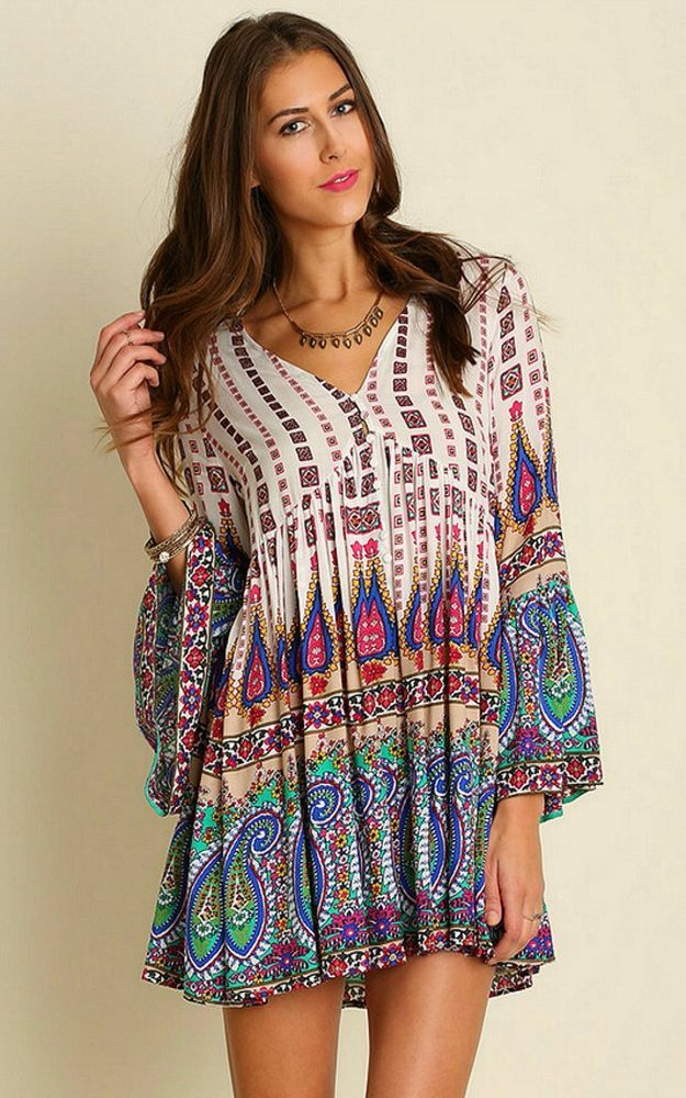 4759d0e51490a Umgee USA Boho Bell Sleeve V-Neck Paisley Border Print Peasant Tunic -  Dress XL