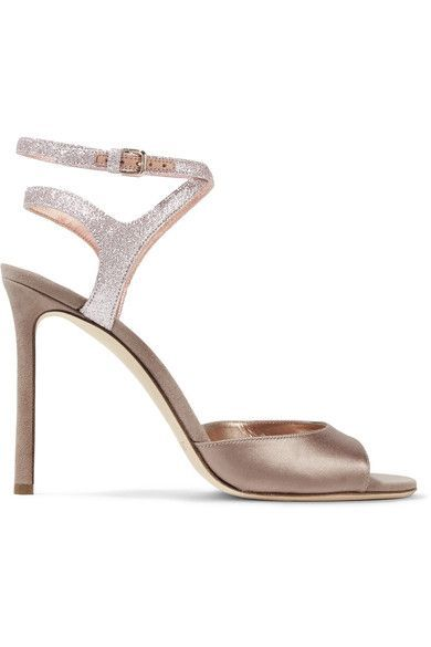 Heel measures approximately 100mm/ 4 inches Pale-gold satin and suede Buckle-fastening ankle strap Designer color: Champagne Made in Italy