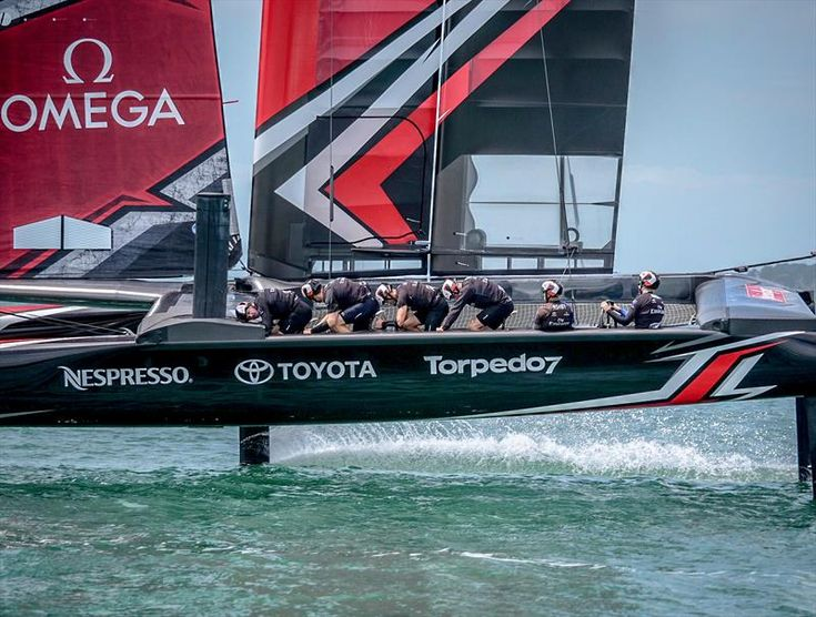 Emirates Team New Zealand launch their race boat
