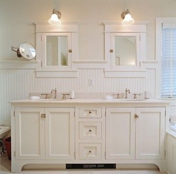 beadboard bathroom, white bathroom, double vanity, cottage style,  bathroom