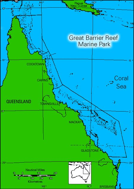GREAT BARRIER REEF MAP, endagered habitat