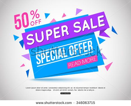 Super Sale paper banner. Sale background.  Big sale.  Sale tag.  Sale poster. Sale vector.  Super Sale and special offer. 50% off. Vector illustration.