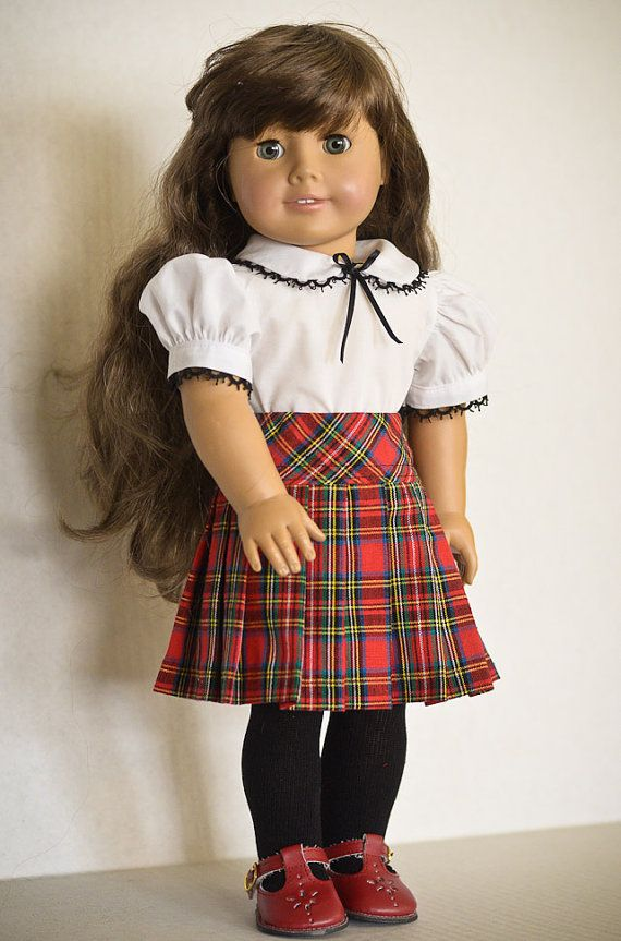RESERVED  Plaid Skirt and White Blouse by AnnasGirls on Etsy