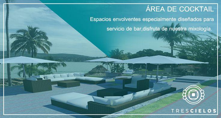 "Areas de cocktail & descanso para tus incvitados, Destino de tu Boda, ""Tres Cielos"" Tequesquitengo, México. Jardín de Eventos."