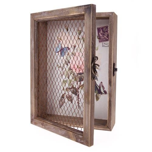Vintage Key Cabinet Wooden Rustic Caging Chicken Wire Table Plan Idea http://www.thehandcraftedcardcompany.co.uk/cardcrafts/9441-mini-vintage-key-cabinet.asp