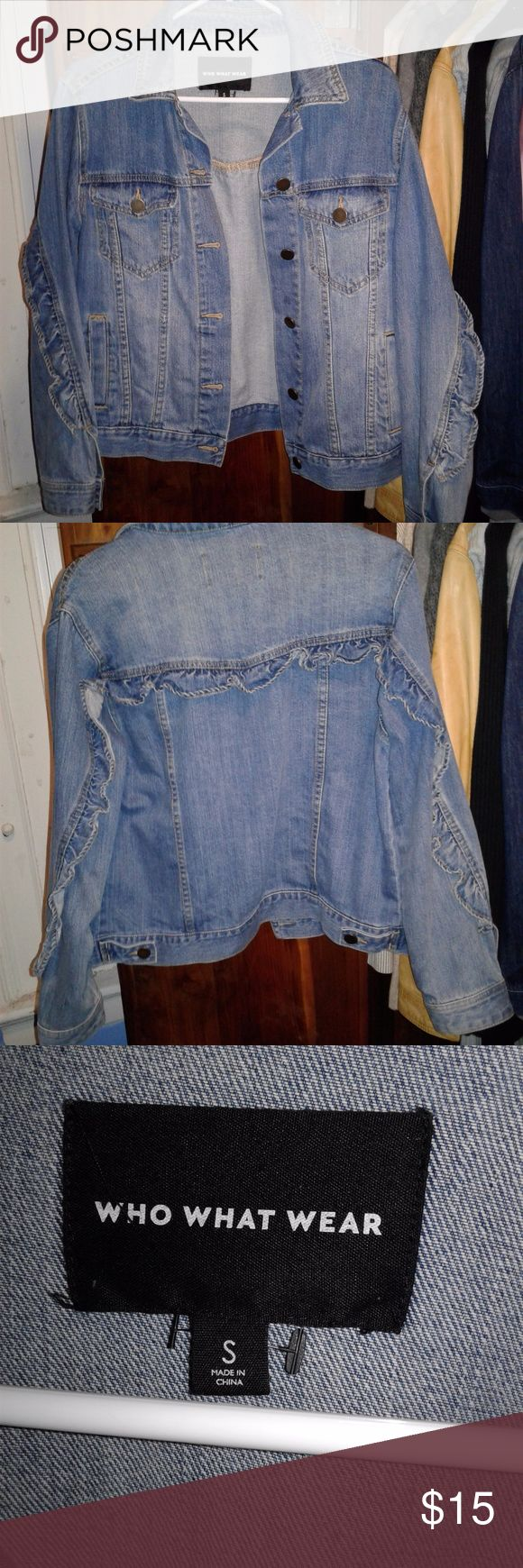 demin jacket it says size small  but i usually wear large, so this fits like a 10-12 or large. ruffles on the back and sleeves. new without tags Jackets & Coats Jean Jackets
