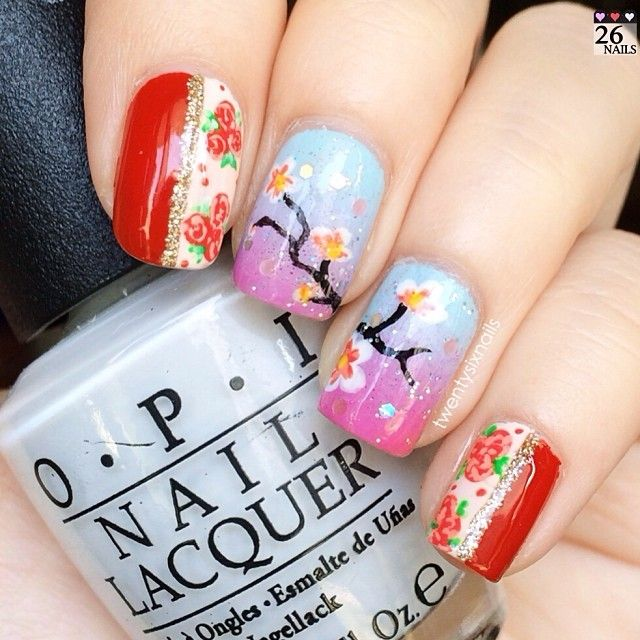 59 best Peacock & Cherry blossom Nail\'s. images on Pinterest | Nail ...