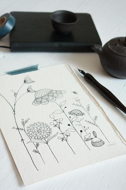 beautiful plants and flowers drawing