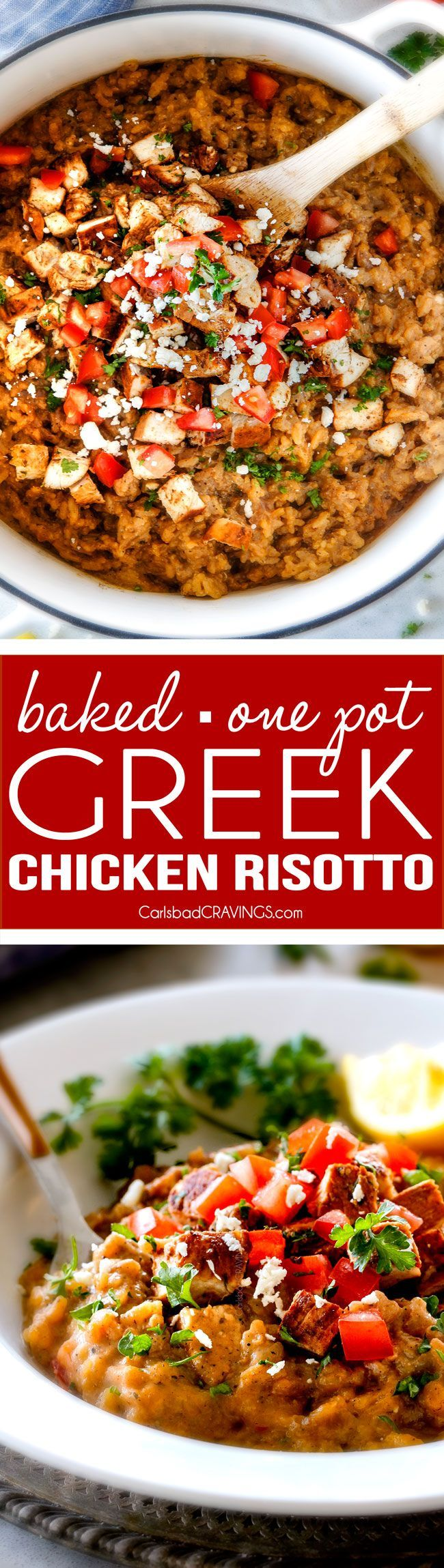 Easy, creamy BAKED Greek Chicken Risotto made in ONE POT! This has become a favorite dinner for my entire family and I love how easy it is! Its bursting with so much flavor and the chicken marinade is outstanding!