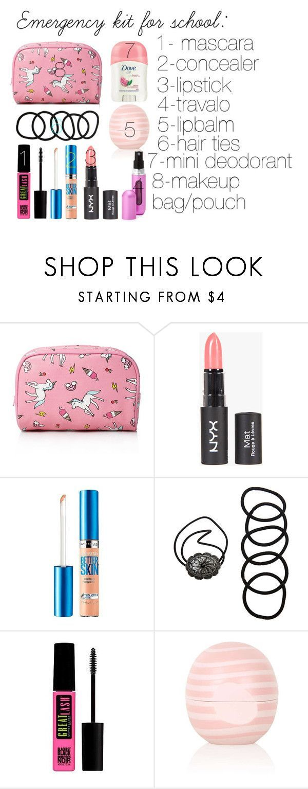 """""""Emergency kit for school"""" by savrsenagospodjica ❤ liked on Polyvore featuring beauty, Forever 21, Maybelline, Wet Seal, Topshop and Travalo"""
