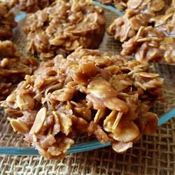 No Bake Choco-Peanut-Oatmeal Cookies Allrecipes.com (add extra peanut butter and less sugar)