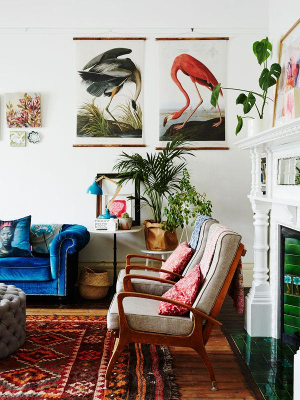 Peter And Paula Mills And Family Home From The Design Files. Bird  Illustrations On The Wall And Monstera Plants Make This My Kind Of Lounge.