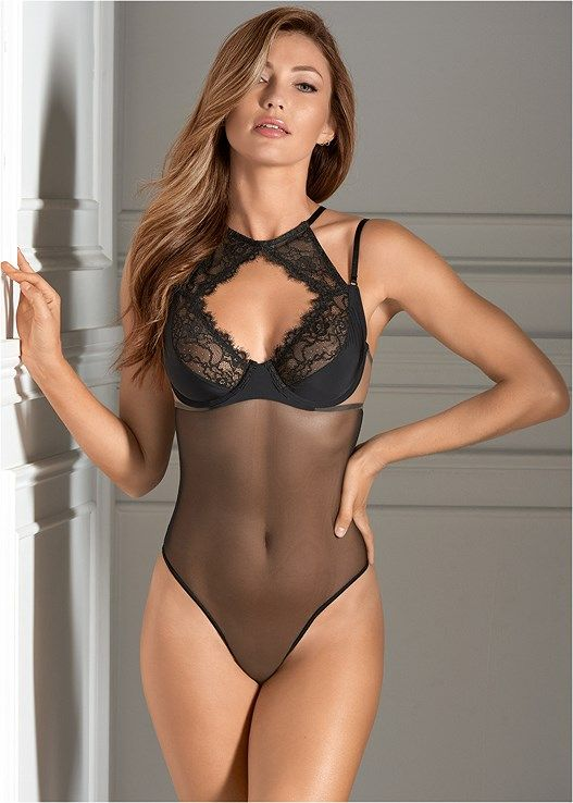 626800afb78c3 Sheer mesh bodysuit coupled with gorgeous eyelash lace will give you the  confidence you deserve!