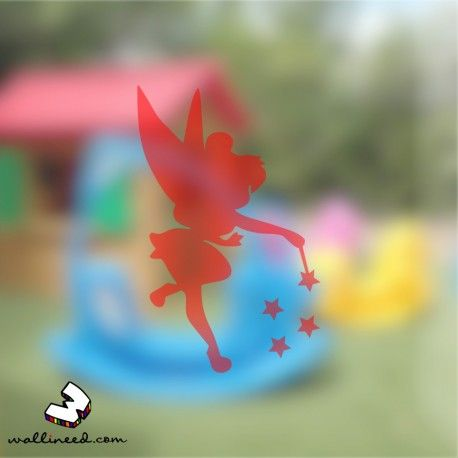 A beautiful fairy with stars window decal for your little girl's room