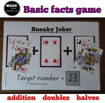 Sneaky Joker - Basic facts game (addition, doubles, halves)