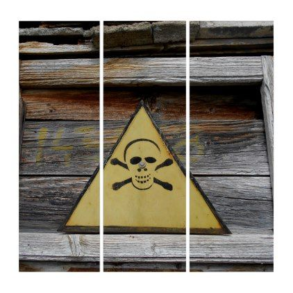 #rustic - #Vintage Danger Sign On Rustic Wood Triptych