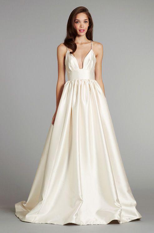 A deep-V #wedding dress from Blush. #WouldYouWearIt?