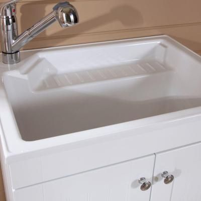 Laundry Tub with cabinet underneath!! Glacier Bay 27 in. W Base Cabinet with ABS Sink in Country White-BC2732COM-WH at The Home Depot