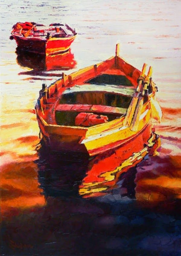 Boats In A Warm Color Scheme