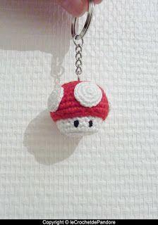 le Crochet de Pandore   Tuto champignon Mario    Une amie m'a commandé un porte-clé à l'effigie du champignon des jeux Mario.   J'ai don...
