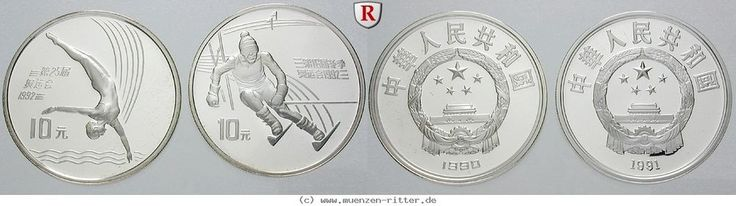 RITTER China, 2x 10 Yuan 1990-1991, Olympische Spiele 1992-1994, st #coins