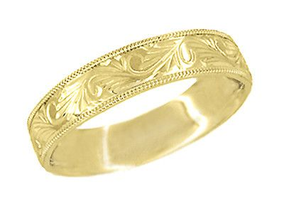 Men's Engraved Art Deco Scrolls Millgrain Edged 6.5 mm Wide Vintage Style Wedding Band in 14 Karat Yellow Gold