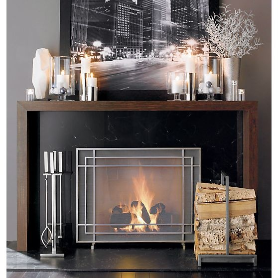 Alton II Pewter Fireplace Screen in Fireplace Accessories | Crate and Barrel