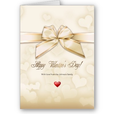 Gold Ribbon & Hearts Valentine Love Greeting Card - Special and elegant design for your special ones by ©Ruxique - $3.15