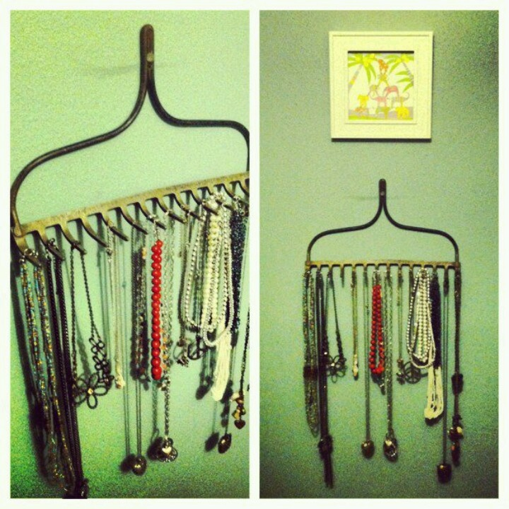 Cool idea... Rake jewelry holder