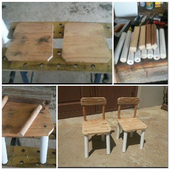 Kiddies Chair, children, diy, easy chair build, pine and broom handle chair.