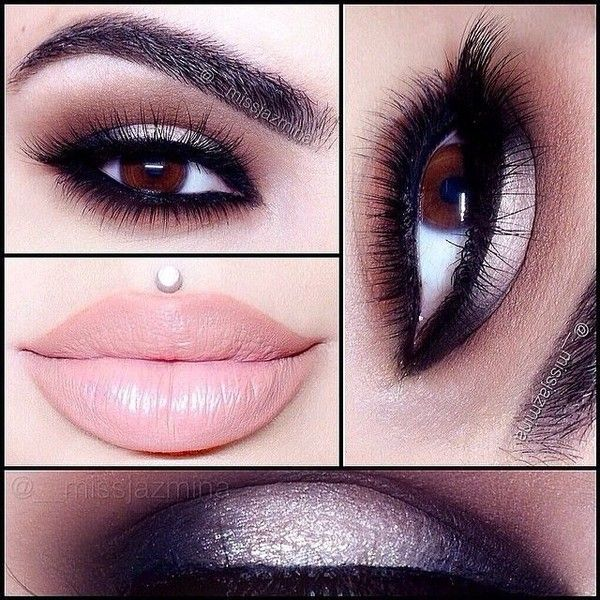20 Perfect Club Makeup Looks Featuring Sexy Smokey Eyes! ❤ liked on Polyvore featuring beauty products, makeup, eye makeup, eyes, lips and beauty