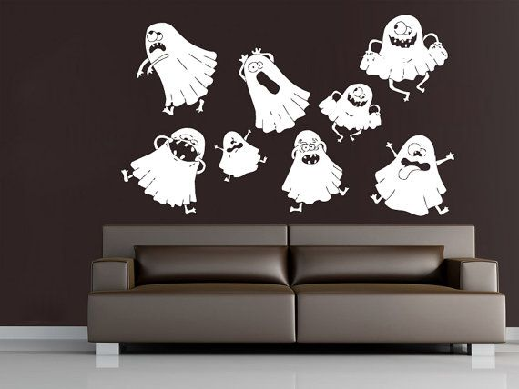 Pinterest Halloween Wall Decor : Wall decals happy halloween ghost decal vinyl sticker home