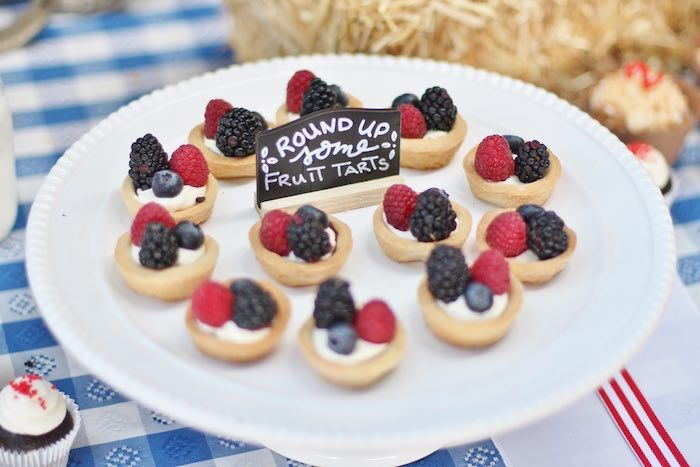 Round up fruit tarts from Western Cowboy Birthday Party at Kara's Party Ideas. See more at karaspartyideas.com!