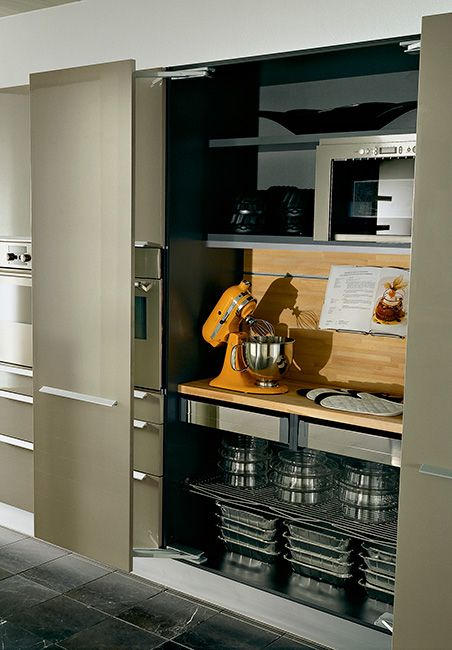 I can hide all my baking equipment with this!   Pegaso work-in double door pantry with beech, by Pedini.